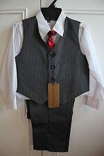 NWT ANDREW FEZZA 4Pc Boy's Suite in Black Pinstripe w/ Red Tie Sz 4 $34.99