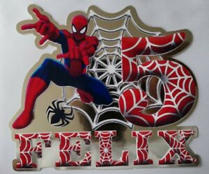 Personalised Cake Topper Party Birthday Spiderman Super Hero Unofficial