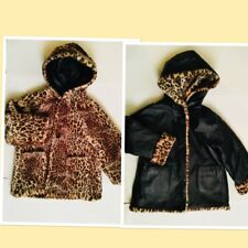 Wilson Leather Jacket Kids Small Reversible Fur Cheetah Hood Great Condition