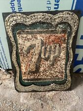 Vintage Original 1940s 7up Soda Metal Advertising Sign General Store Coca Cola