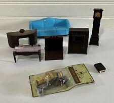 Vintage Plastic Dollhouse Furniture Grandfather Clock Bible Couch Desk Books