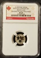 2016 Canada: 1/20 oz $1 Historic Reign, Gilt Maple Leaf, Reverse Proof, NGC PF69