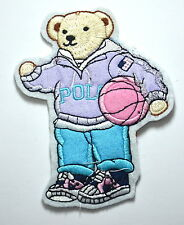 TEDDY BEAR BASKETBALL BALL  Embroidered Sew Iron On Cloth Patch Badge APPLIQUE