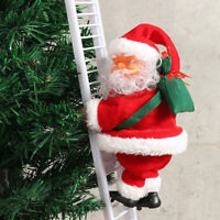 Electric Climbing Ladder Santa Claus Xmas Party Music Figurine Decor Gift Toy CN