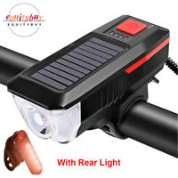 Solar Powered Bicycle Light LED USB Rechargeable Bike Front Headlight Lamp+Horn