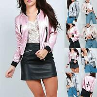 Women Ladies Baseball Collar Zip Up Eyelets Shiny Satin Biker Coat Bomber Jacket