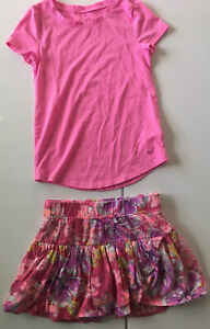 Justice Girls Spring Summer Lot Size 8 Skirt/Skort  T Shirt Pink Floral