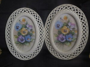 Floral Prints  Oval Pansy  in original frames Wall Decor