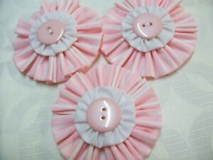 3 x HAND MADE PRETTY MATERIAL FLOWERS WITH VARIOUS PRETTY CENTRES. NEW.