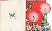VINTAGE CHRISTMAS PINK ROSE BLUE GLASS CANDLE STICKS CANDLES BLUE HOLLY ART CARD
