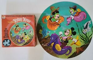 """Vtg Whitman Junior Guild jigsaw puzzle 125 PC Mickey Mouse round 20"""" Complete"""