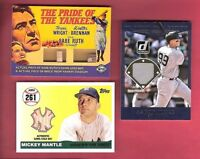 AARON JUDGE ROOKIE JERSEY BABE RUTH GAME USED BAT BRICK + MICKEY MANTLE BAT #3/7