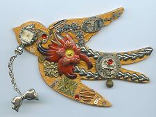 VINTAGE WATCH PARTS & JEWELRY FLYING BIRD THEME WALL ART DECORATION ORIGINAL!
