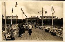 Ahlbeck AK ~1930/40 Insel Usedom Ostsee Steg Promenade Menschen Urlaub Häuser