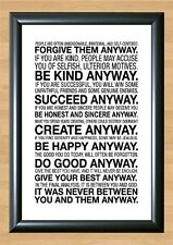 Mother Teresa Love Them Anyway Quote Photo Print Poster Motivational A4 297x210