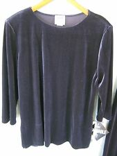 R&M Richards  by Karen Kwong Purple Velour Tunic Top Size 12 NWT Comfy Casual
