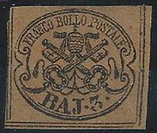 1852 STATO PONTEFICIO 3 BAY BISTRO ARANCIO SENZA GOMMA CERTIFICATO - RR12617