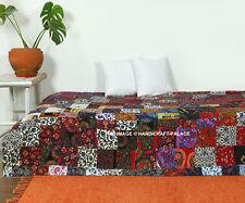 Kantha Handmade Indian Patchwork Cotton Quilt Bedspread Blanket Twin Size Gudari