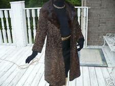 Rare Schiaparelli brown black swakara Fur Coat Jacket S-6