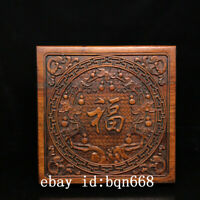 """11"""" Chinese old Antique huanghuali wood handcarved bat flowers box statue"""