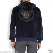 New Versace Navy Dark Blue Leather Medusa Appliqué Velvet Sweatshirt Jacket XXL