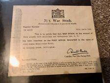 More details for 3.5% war stock share certificate bond post office savings bank 1934