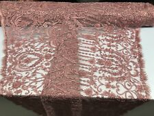 DUSTY ROSE DIVA DESIGN EMBROIDERY WITH HEAVY BEADED ON A MESH-SOLD BY YARD.