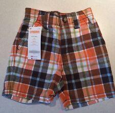 Gymboree Baby Shorts Orange Plaid Boy 6-12 Months NWT New