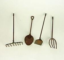 Dollhouse Miniature Fairy Rusty Metal Garden Tools Set, 4 pc
