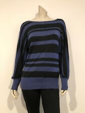 womens Guess striped top blue and black long sleeves