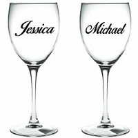 2 x PERSONALISED NAME   WINE GLASS VINYL STICKERS / DECAL (i)