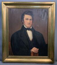 Lg Vintage Antebellum Gentleman Mid 19thC Style Portrait Painting Wood Frame