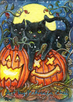 "ACEO LE Art Card Print 2.5x3.5 ""Jack-O'-Lantern And Black Cats""  Art by Patricia"