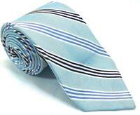 "Izod Mens Tie Necktie 100% Silk 61"" 3 1/2"" Striped Sky Steel Blue Black White"