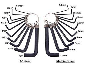 Metric/AF Short Arm Allen Keys / Hex Wrench / Hexagon Key All Sizes CHOOSE Set