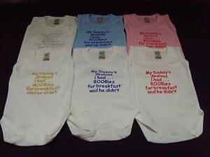 Funny Embroidered Personalised Vest Baby Shower Gift My daddy's jelous boobies