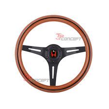 350mm JDM Wood Grain Steering Wheel Black Spoke & Trim w/Red H Emblem