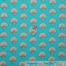 BonEful Fabric FQ Cotton Quilt Aqua Blue Cream Sea Shell Dot Beach Pearl Mermaid