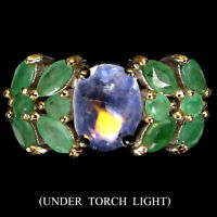 Unheated Oval Fire Blue Moonstone 9x7mm Emerald 925 Sterling Silver Ring