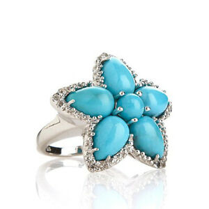 "HSN Turquoise and White Topaz Sterling Silver ""Floral"" Ring Size 7"