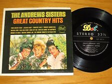 """STEREO POP / COUNTRY 7"""" 33 - ANDREW SISTERS - DOT 567 - """"GREAT COUNTRY HITS"""""""