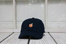 Hip Peach Embroidered Low Profile Baseball Cap Hat Navy Blue