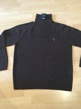 NEW MEN'S BROWN GANT HALF ZIP ROLLNECK LAMBSWOOL JUMPER XXL