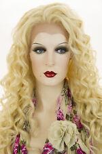 Light Pale Blonde Blonde Long Lace Front Heat Friendly Wavy Curly Wigs