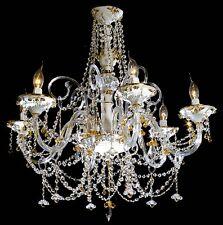 LAMPADARIO IN CRISTALLO E CERAMICA A 6 LUCI COLL. BGA 1041 DESIGN SWAROVSKY
