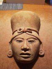 "Egyptian Pharaoh terracotta face head 8""x5"" headdress clay wall  sculpture A"