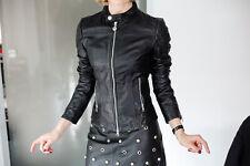 FORNARINA schwarze Lederjacke Echtleder Biker Slim Fit Perfekter Sitz Gr. XS 34