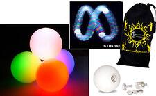 3x LED glow giocoleria palline (scansione stroboscopica del effetto) Pro Glow-giocoleria palline set di 3 + BAG