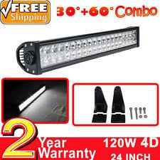 "22""/24"" 120w 4D Lens Barre à LED 12V Lumière SUV jeep truck Boat work light bar"