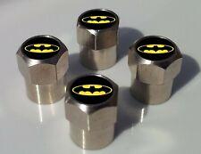 BATMAN BLACK & YELLOW LOGO  TYRE VALVE CAPS FOR TIRE WHEEL